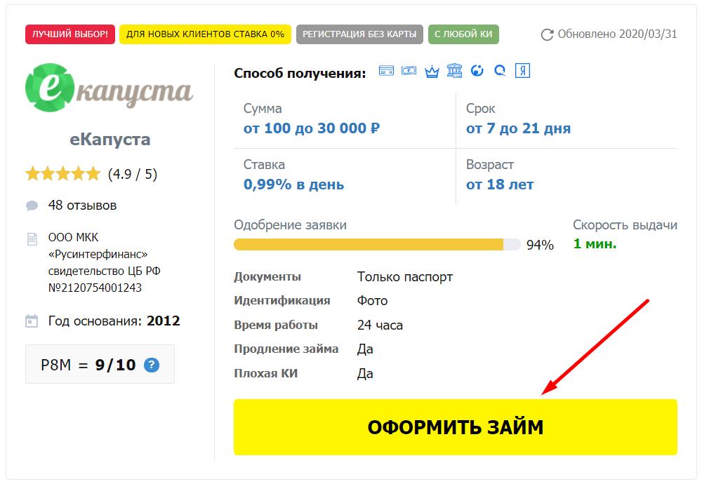 Займ на Яндекс карту